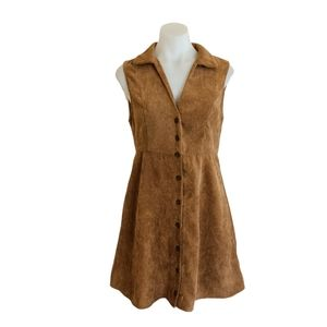 Womens Size S Brown A Line Corduroy Button Up Dress